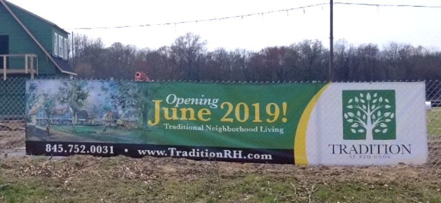Opening June 2019 Banner outside Tradition at Red Hook